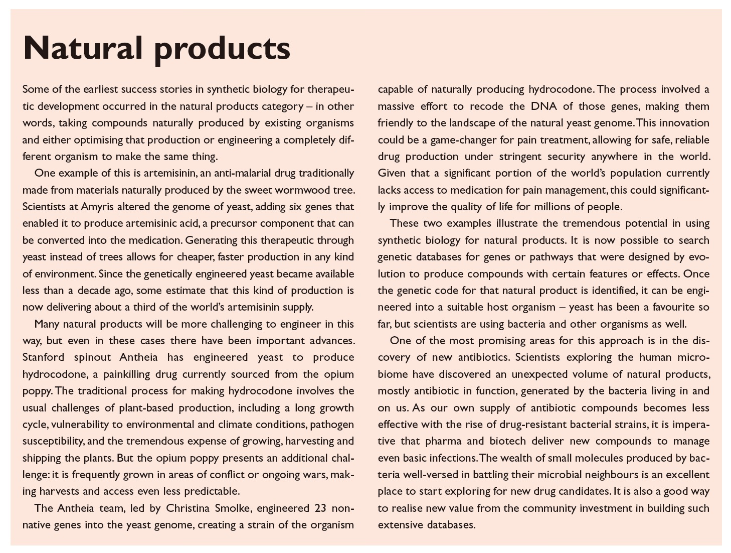 Figure 5 Natural products excerpt, sythetic biology success stories