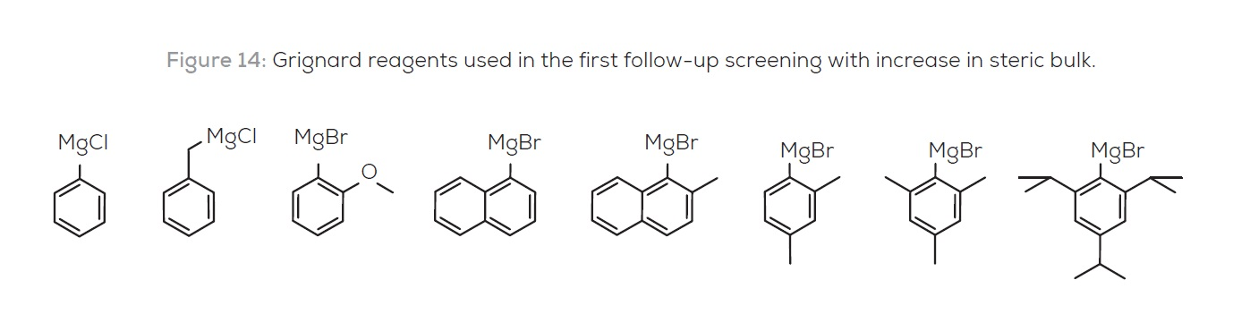 Figure 14 Grignard reagents used in the first follow-up screening with increase in steric bulk