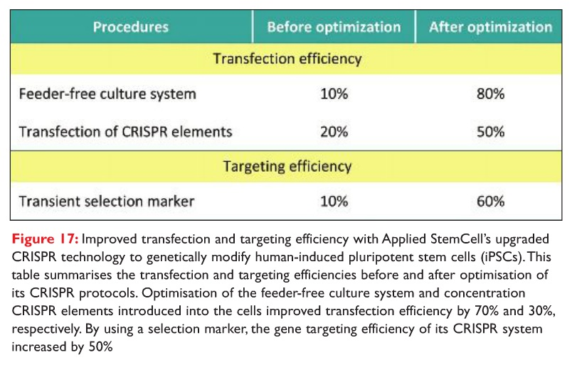 Figure 17 Improved transfection and targeting efficiency with Applied StemCell's upgraded CRISPR technology