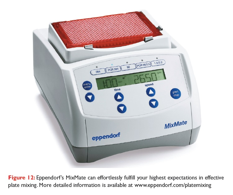 Figure 12 Eppendorf's MixMate can effortlessly fulfill your highest expectations in effective plate mixing