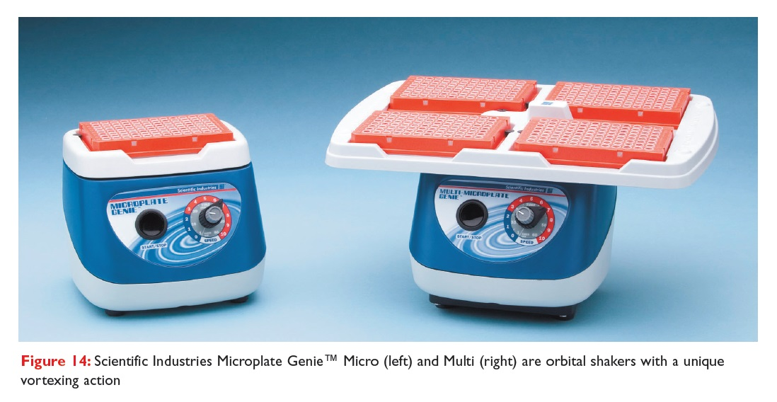 Figure 14 Scientific Industries Microplate Genie Micro and Multi, are orbital shakers with a unique vortexing action