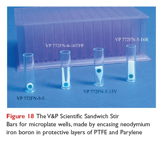 Figure 18 The V&P Scientific Sandwich Stir Bars for microplate wells, made by encasing neodymium iron boron in protective layers of PTFE and Parylene