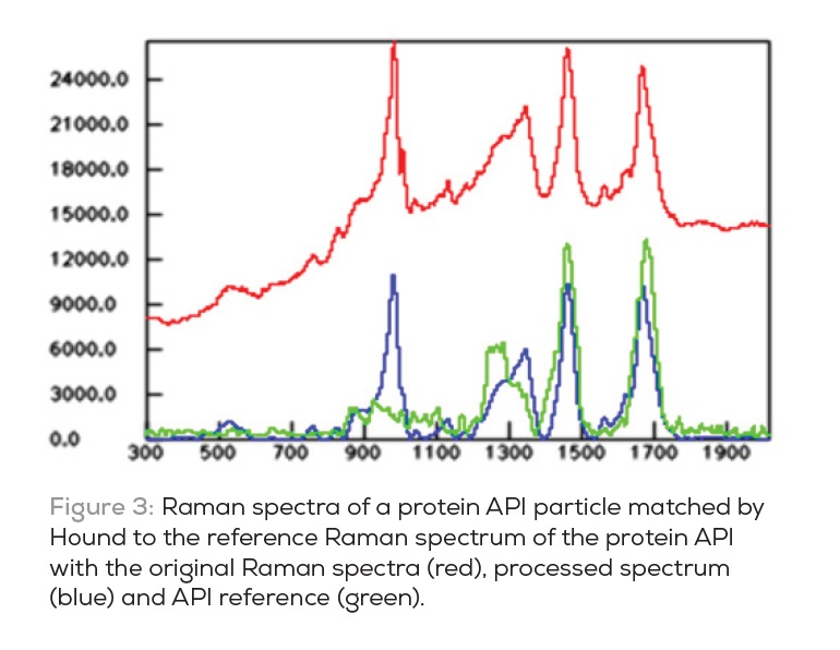 Figure 3 Raman spectra of a protein API particle matched by Hound to the reference Raman spectrum of the protein API