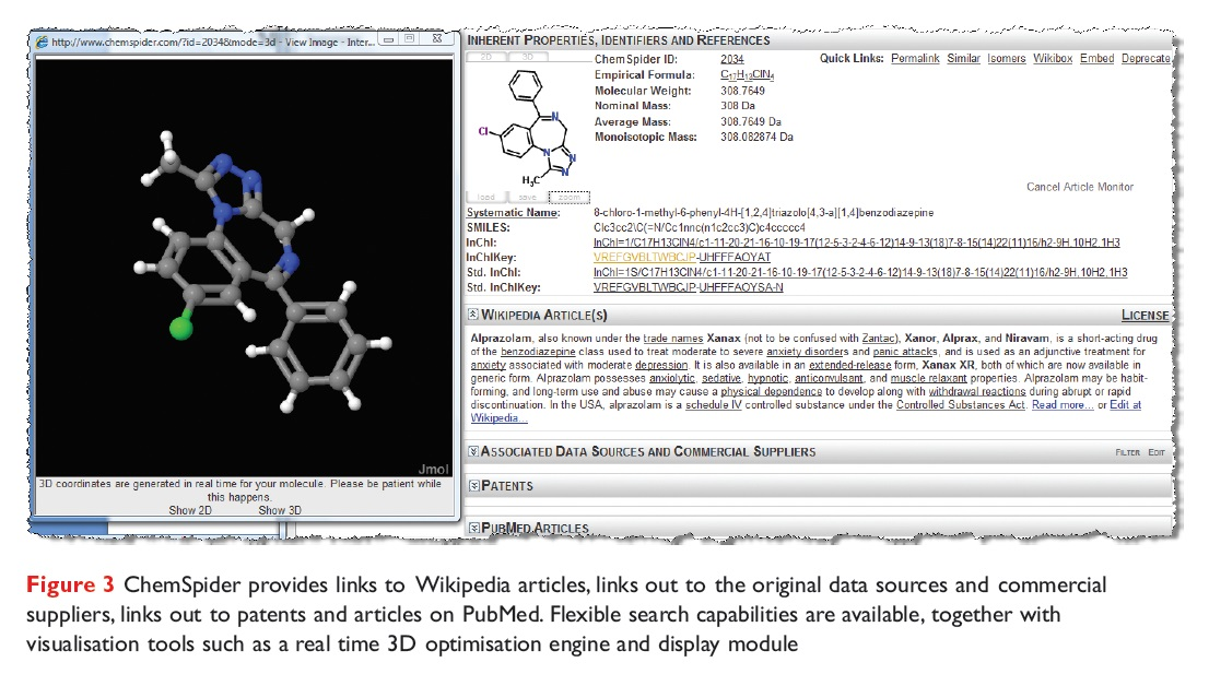 Figure 3 ChemSpider provides links to Wikipedia articles, links out to the original data sources and commercial suppliers and PubMed