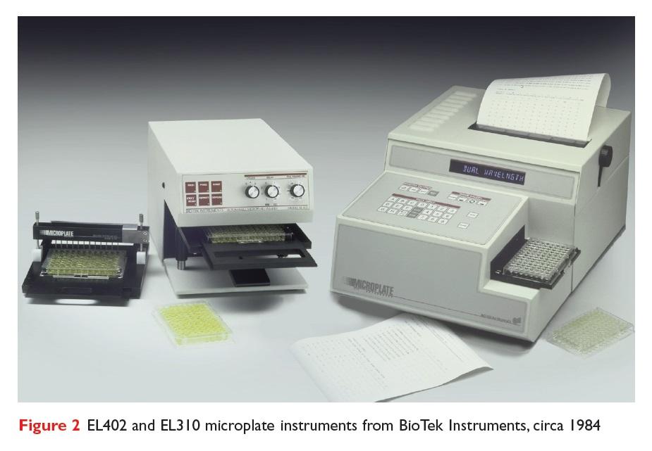 Figure 2 EL402 and EL310 microplate instruments from BioTek Instruments circa 1984
