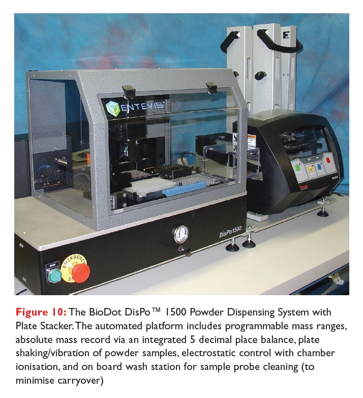 Figure 10 The BioDot DisPo 1500 Powder Dispensing System with Plate Stacker