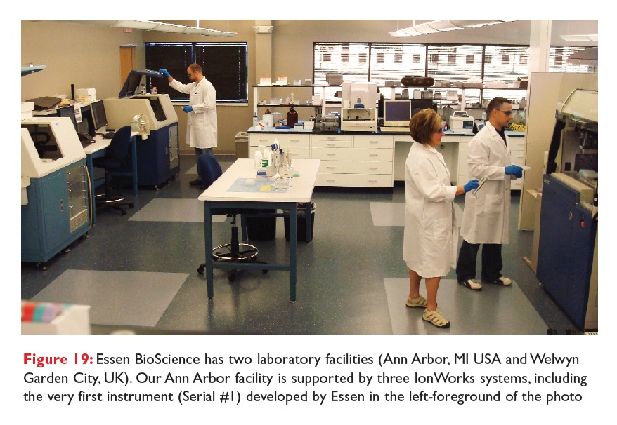 Figure 19 Essen BioScience has two laboratory facilities, Ann Arbor is supported by three IonWorks systems