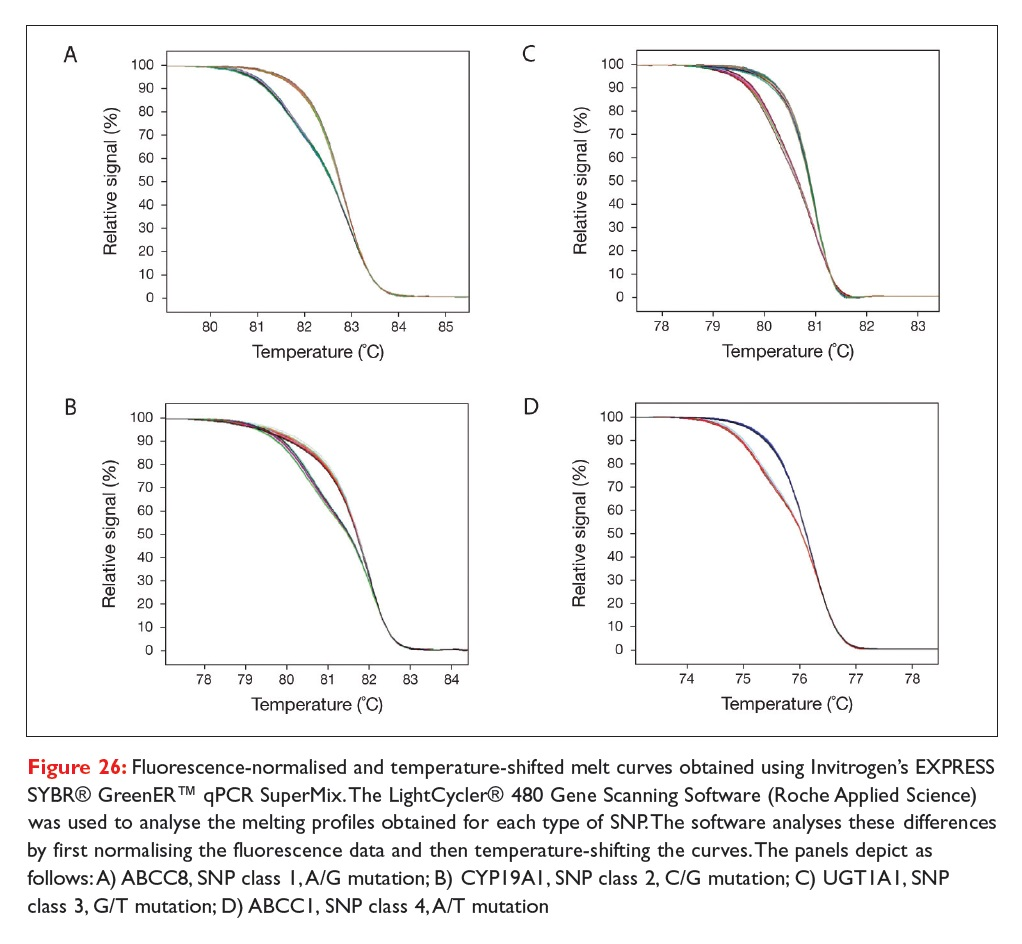 Figure 26 Fluorescence-normalised and temperature-shifted melt curves obtained using Invitrogen's EXPRESS SYBR GreenER qPCR SuperMix