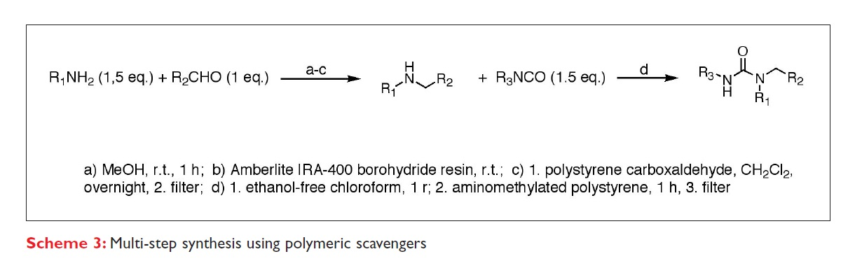Scheme 3 Multi-step synthesis using polymeric scavengers