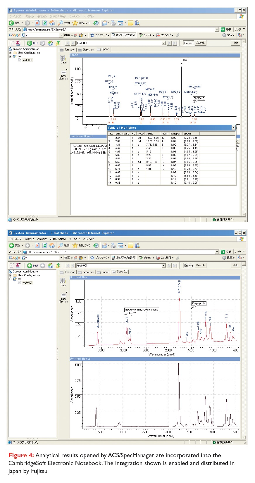 Figure 4 Analytical results opened by ACS/SpecManageer are incorporated into the CambridgeSoft Electronic Notebook