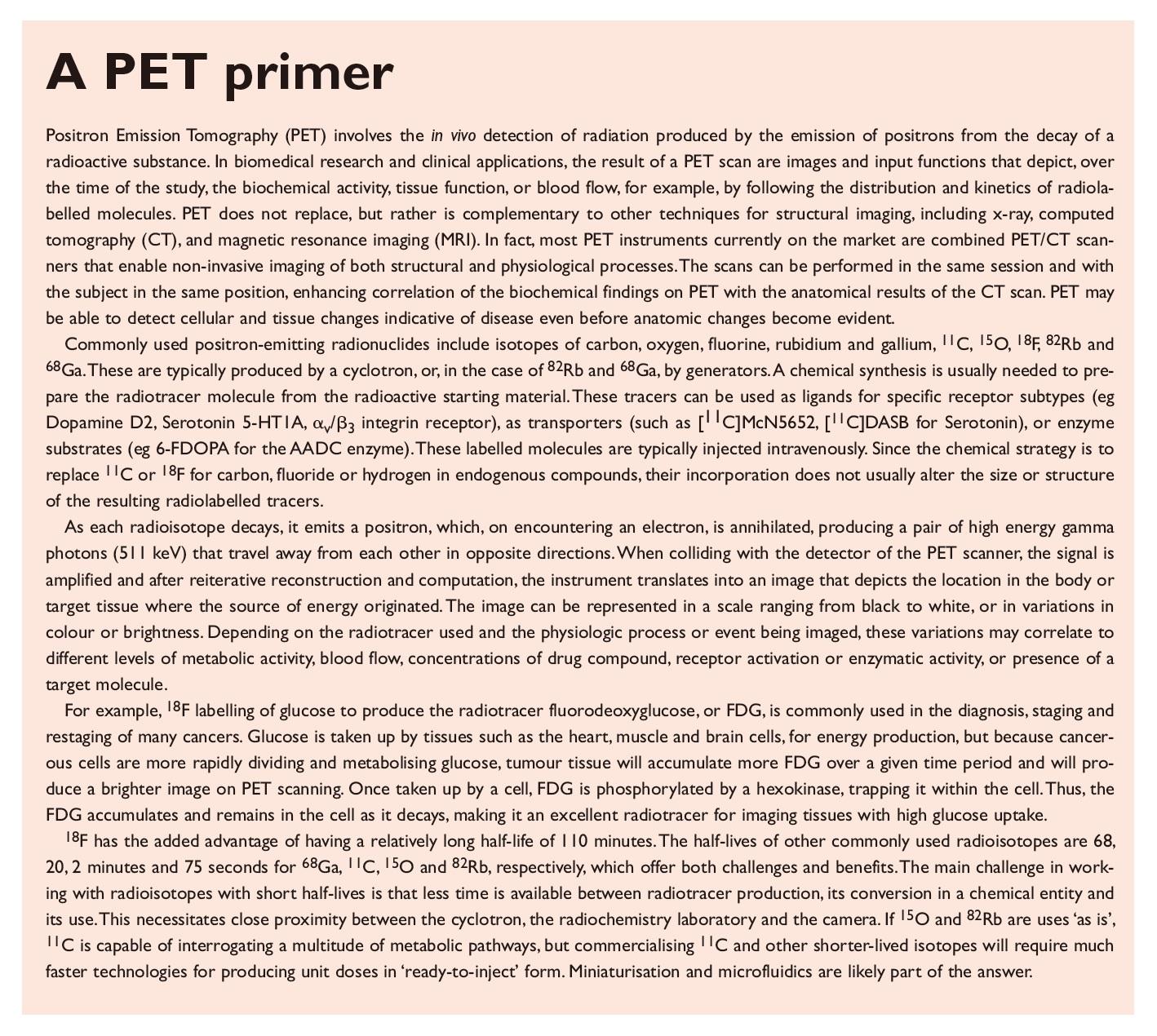 Excerpt 1 A Positron Emission Tomography (PET)