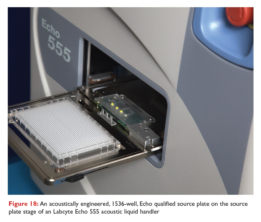 Figure 18 An acoustically engineered, 1536-well, Echo qualified source plate on the source plate stage of an Labcyte Echo 555 acoustic liquid handler