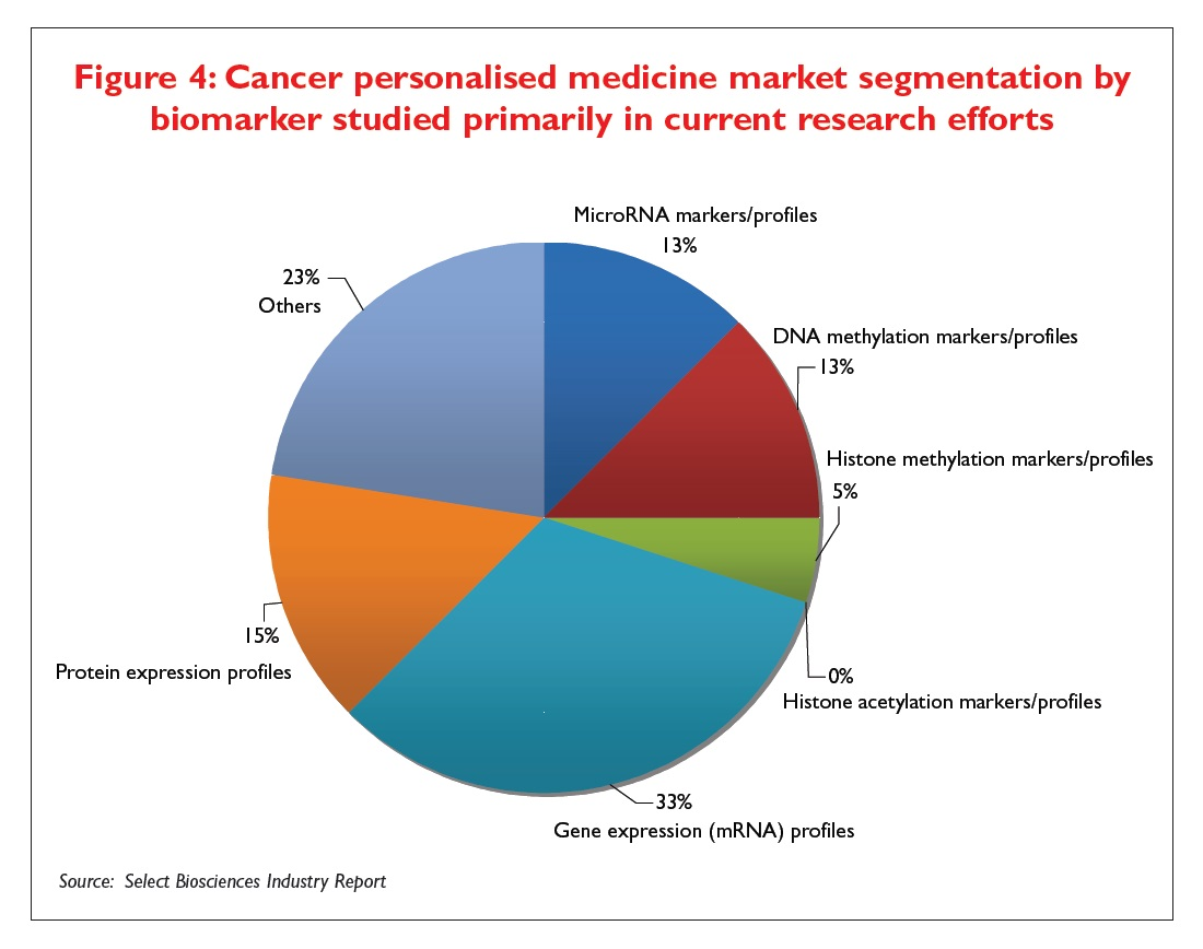 Figure 4 Cancer personalised medicine market segmentation by biomarker studied primarily in current research efforts
