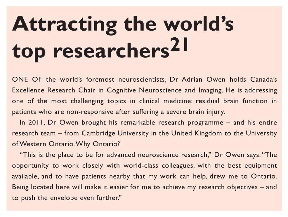 Figure 2 Ontario attracting the world's top researchers text excerpt