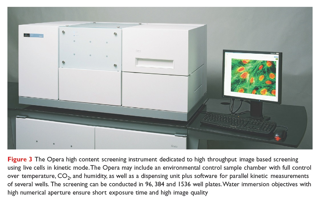 Figure 3 The Opera high content screening instrument dedicated to high throughput image based screening using live cells in kinetic mode