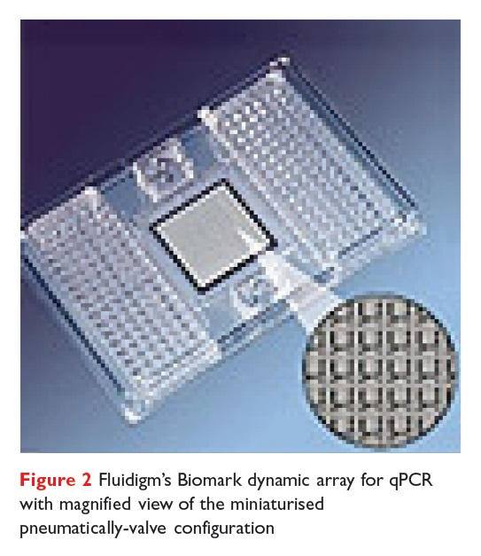 Figure 2 Fluidigm's Biomark dynamic array for qPCR with magnified view of the miniaturised pneumatically-valve configuration