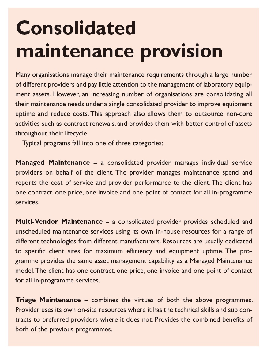 Figure 2 Consolidated maintenance provision
