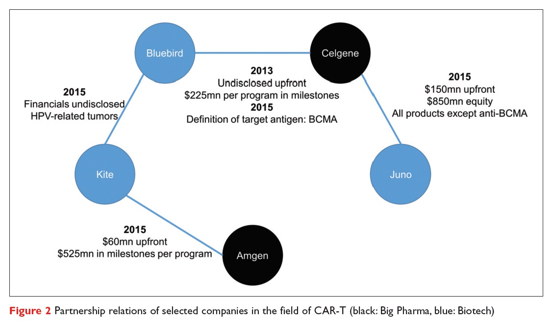 Figure 2 Partnership relations of selected companies in the field of CAR-T