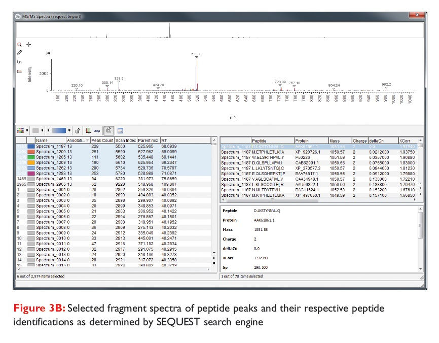 Figure 3B Selected fragment spectra of peptide peaks and their respective peptide identifications