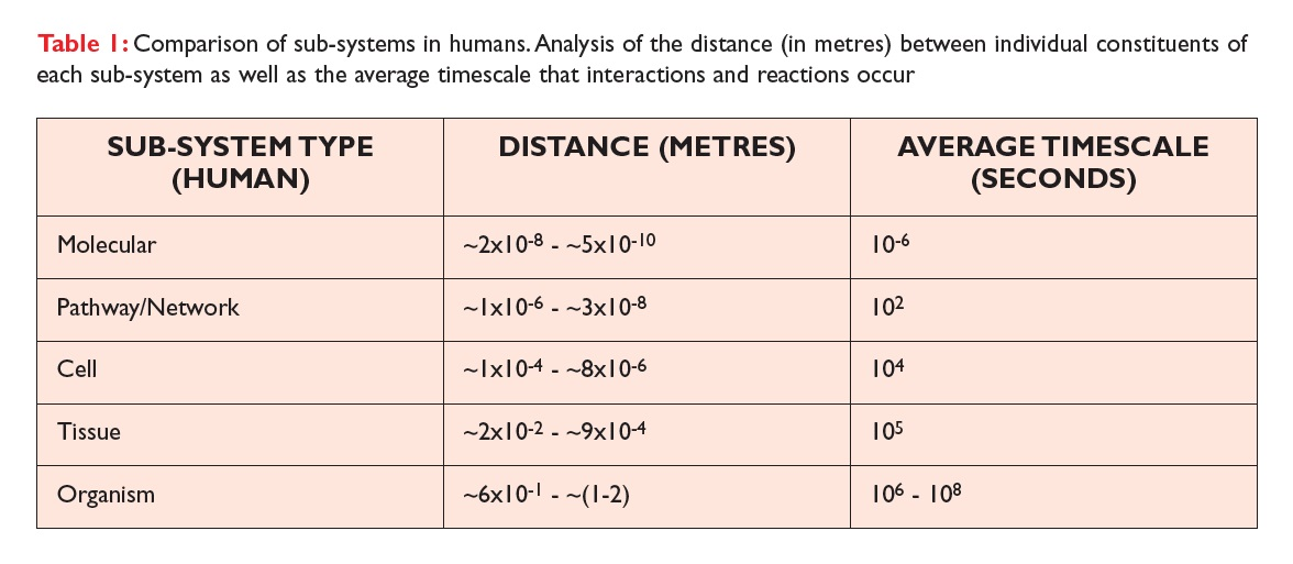 Table 1 Comparison of sub-systems in humans