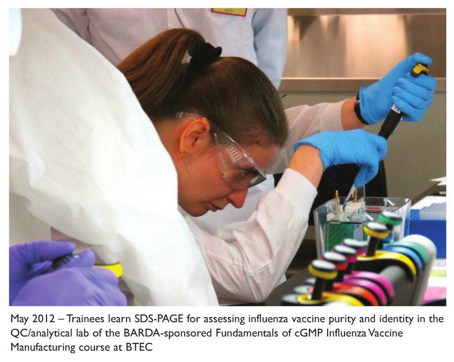 Image 1 Trainees learn SDS-PAGE for assessing influenza vaccine purity and identity in the QC/analytical lab