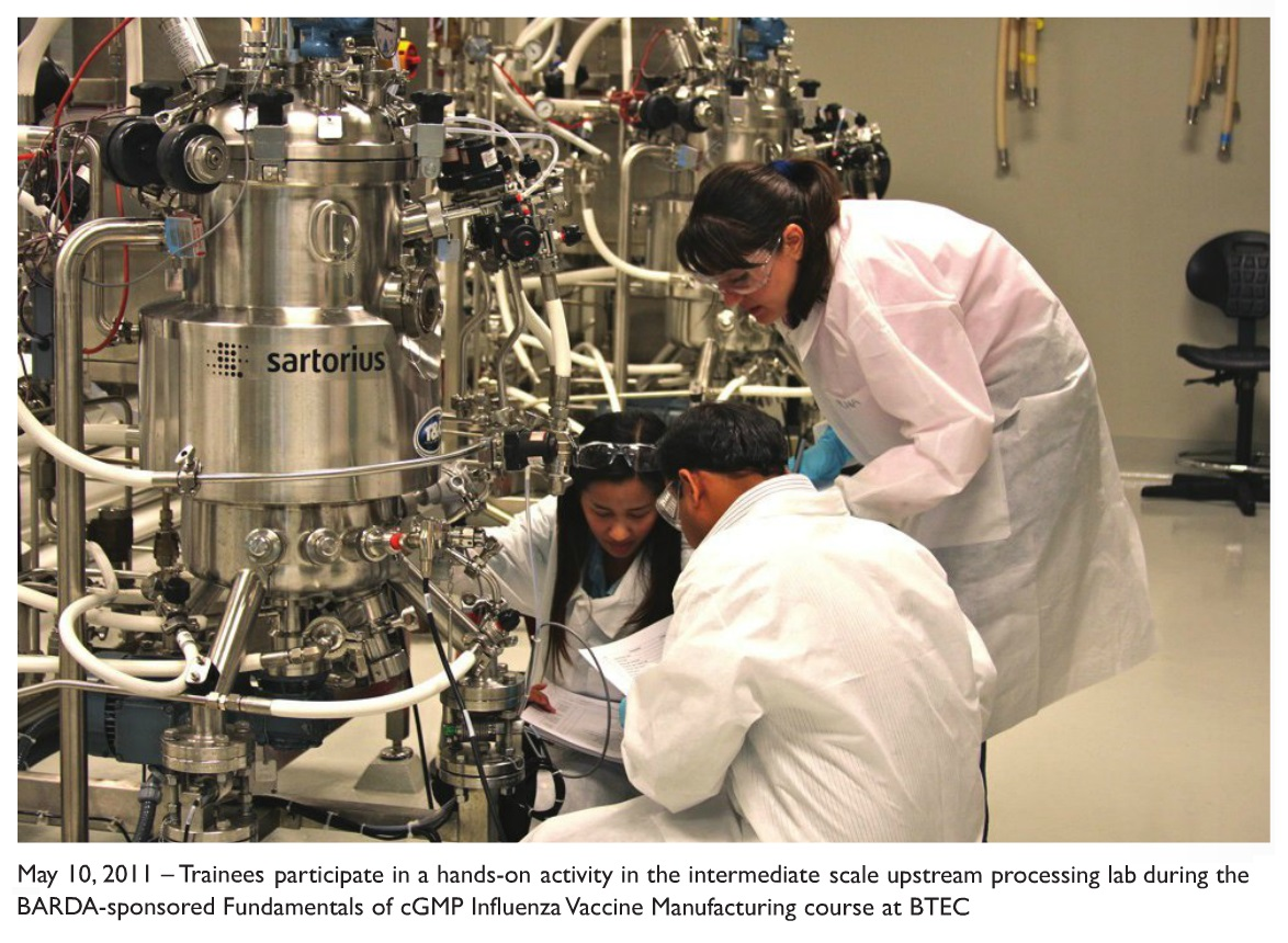 Image 2 Trainees participate in hands-on activity in the intermediate scale upstream processing lab