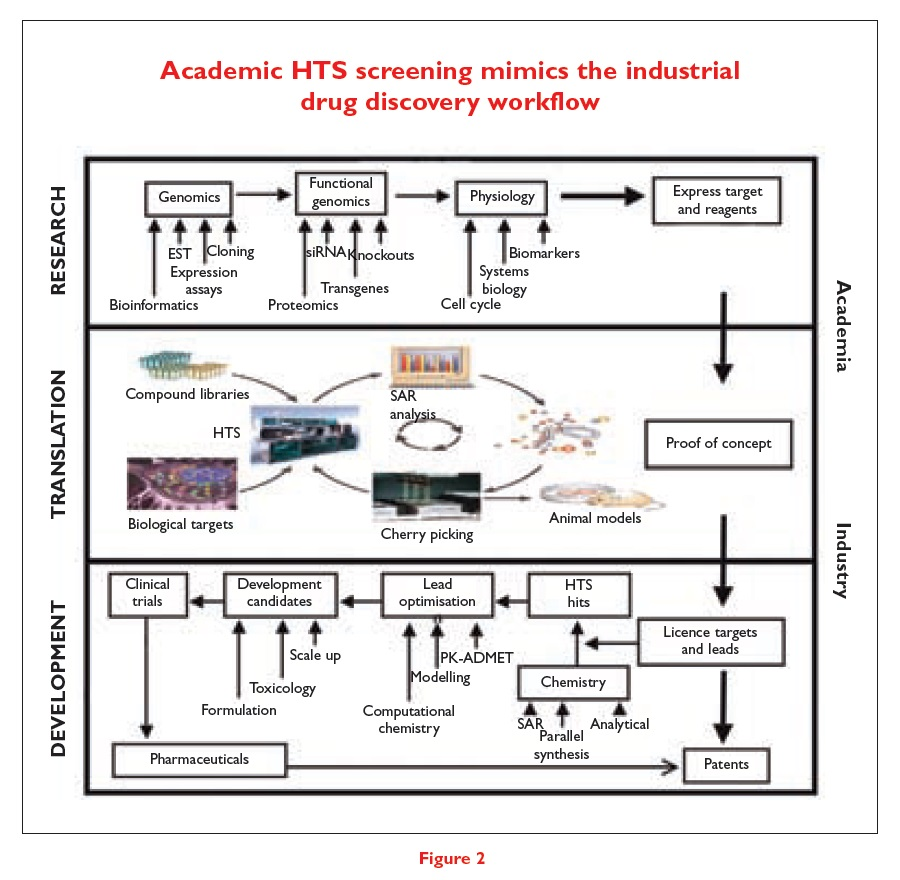 Figure 2 Academic HTS screening mimics the industrial drug discovery workflow