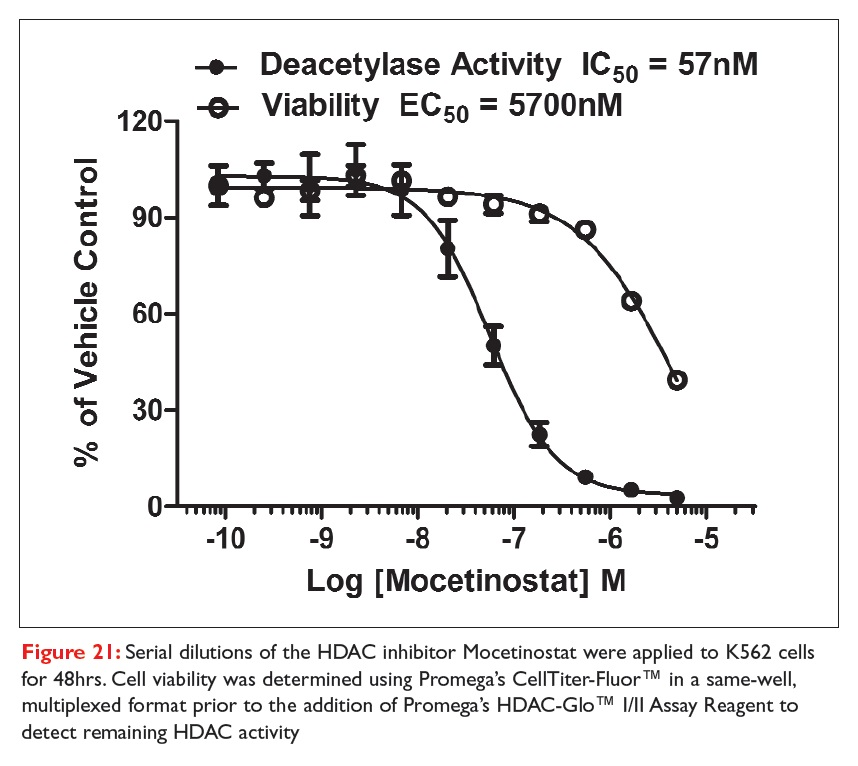 Figure 21 Serial dilutions of the HDAC inhibitor Mocetinostat were applied to K562 cells for 48hrs