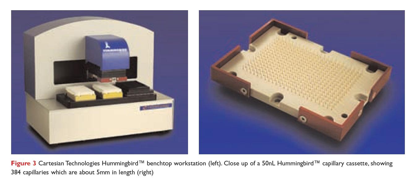 Figure 3 Cartesian Technologies Hummingbird benchtop workstation