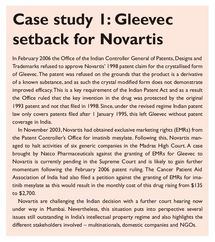 Case Study 1 Gleevec setback for Novartis