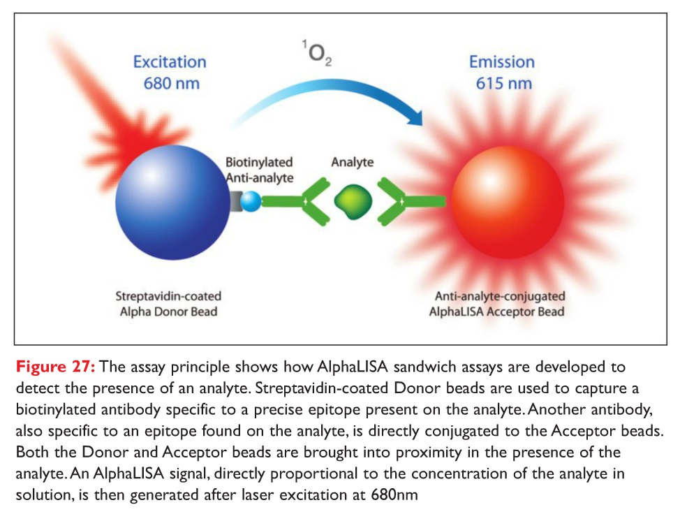 Figure 27 The assay principle shows how AlphaLISA sanwich assays are developed to detect the presence of an analyte