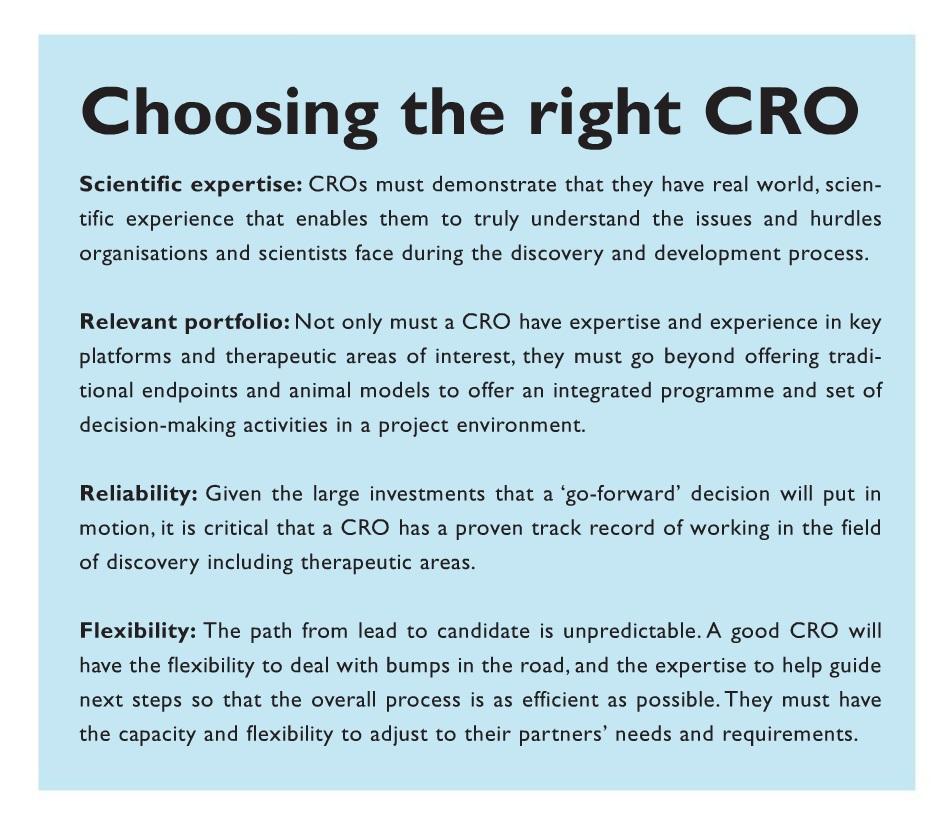 Figure 2 Choosing the right CRO, scientific expertise, relevant portfolio, reliability, and flexibility