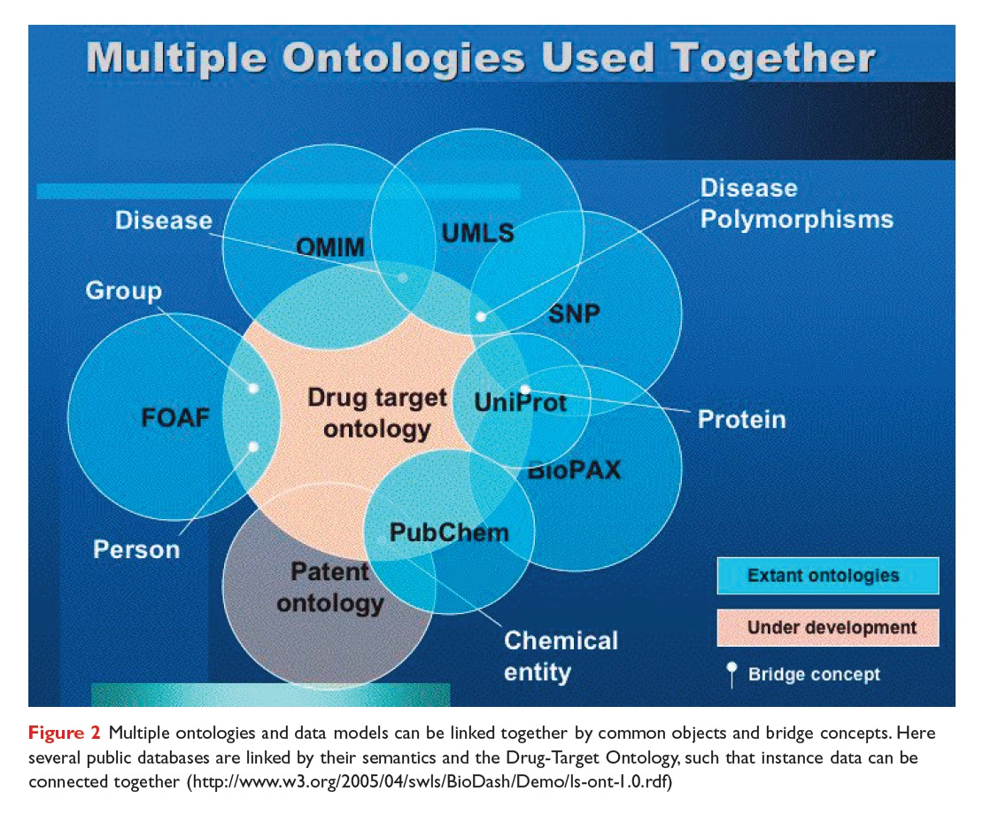 Figure 2 Multiple ontologies and data models can be linked together by common objects and bridge concepts