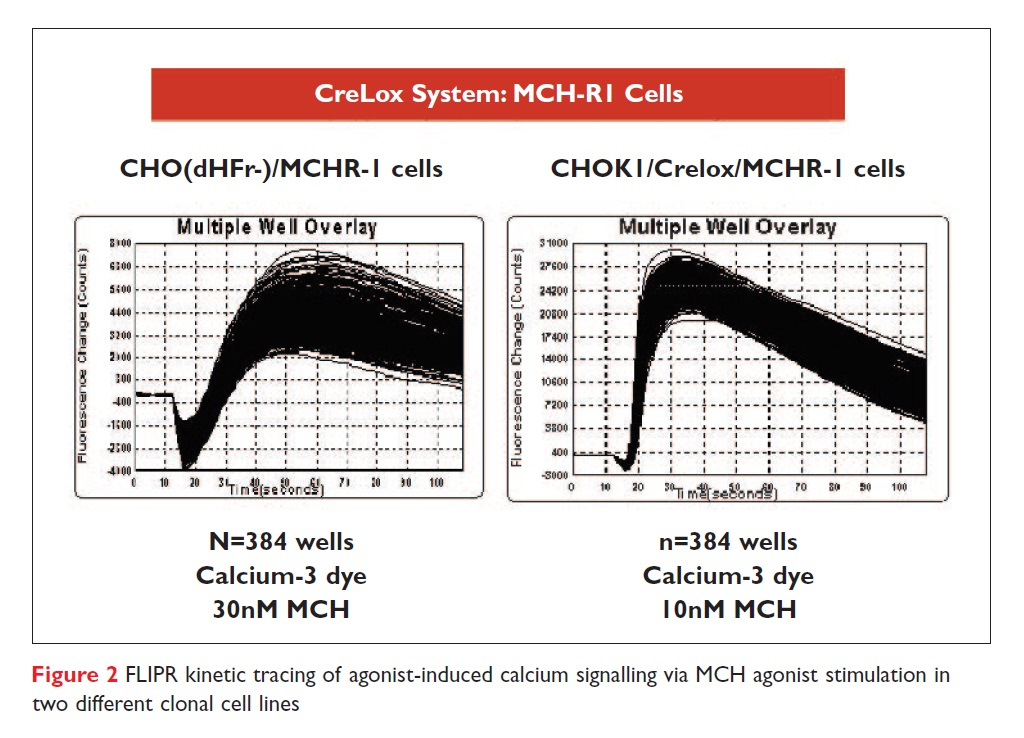 Figure 2 FLIPR kinetic tracing of agonist-induced calcium signalling via MCH agonist stimulation in two different clonal cell lines