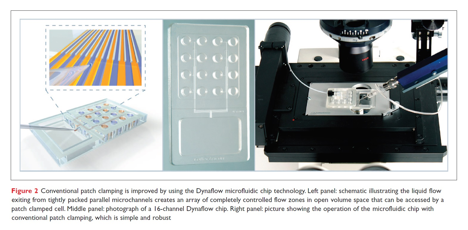 Figure 2 Conventional patch clamping is improved by using the Dynaflow microfluidic chip technology