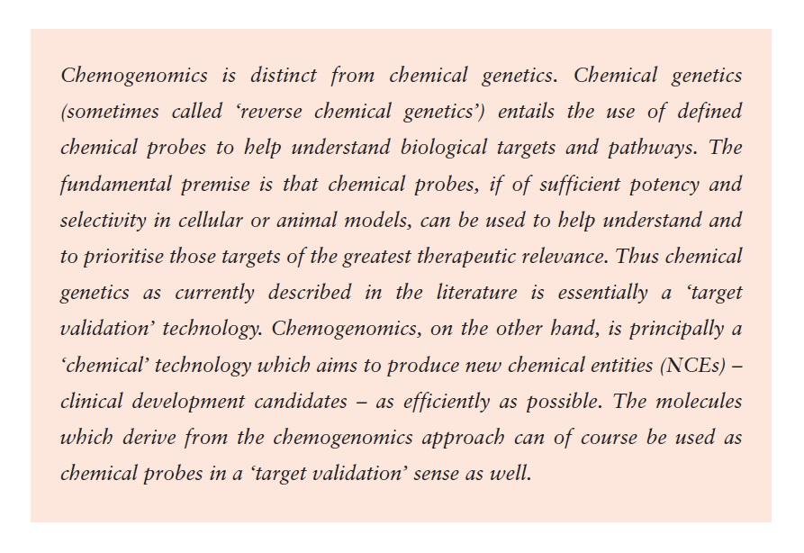 Excerpt 1 Chemogenomics is distinct from chemical genetics
