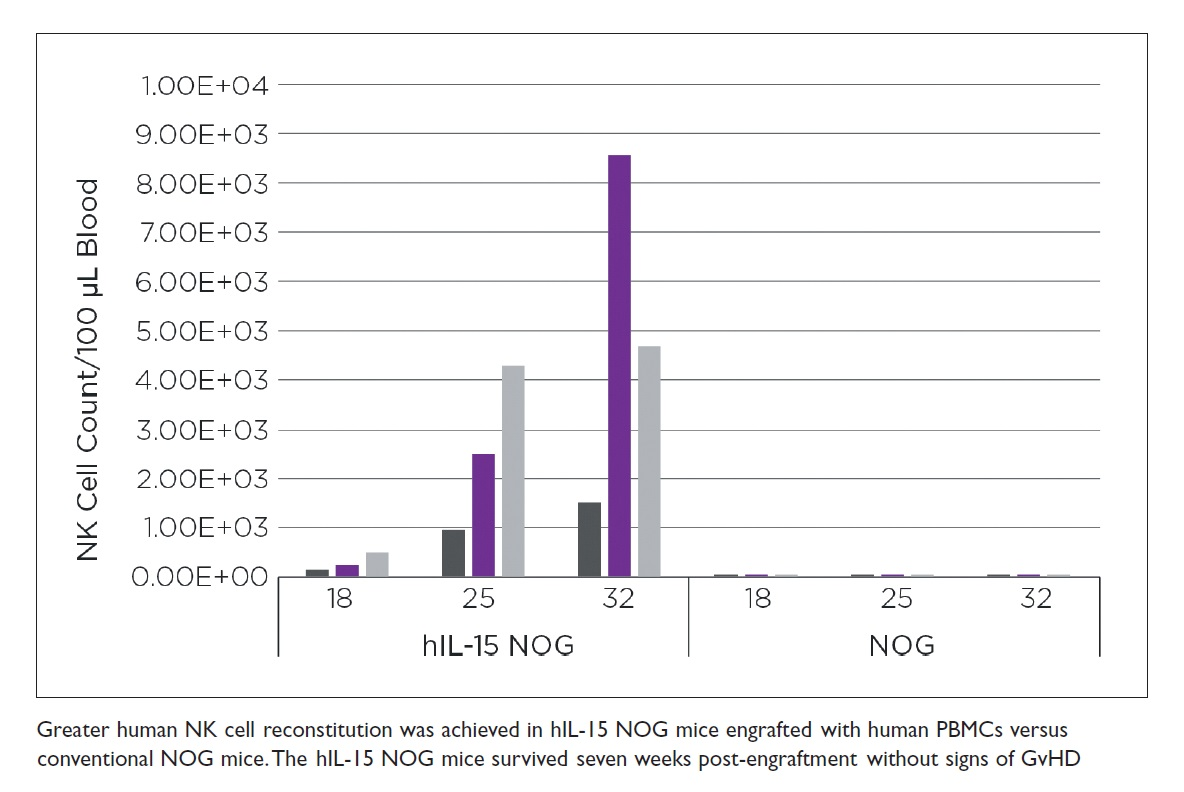 Figure 2 Greater human NK cell reconstitution was achieved in hIL-15 NOG mice