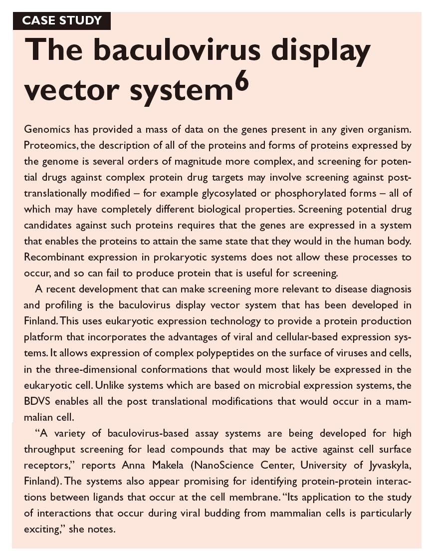 Case Study 1 The baculovirus display vector system