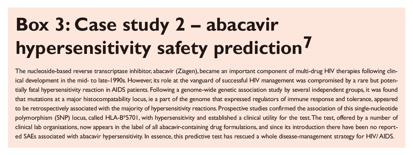 Box 3 Case study 2 - abacavir hypersensitivity safety prediction