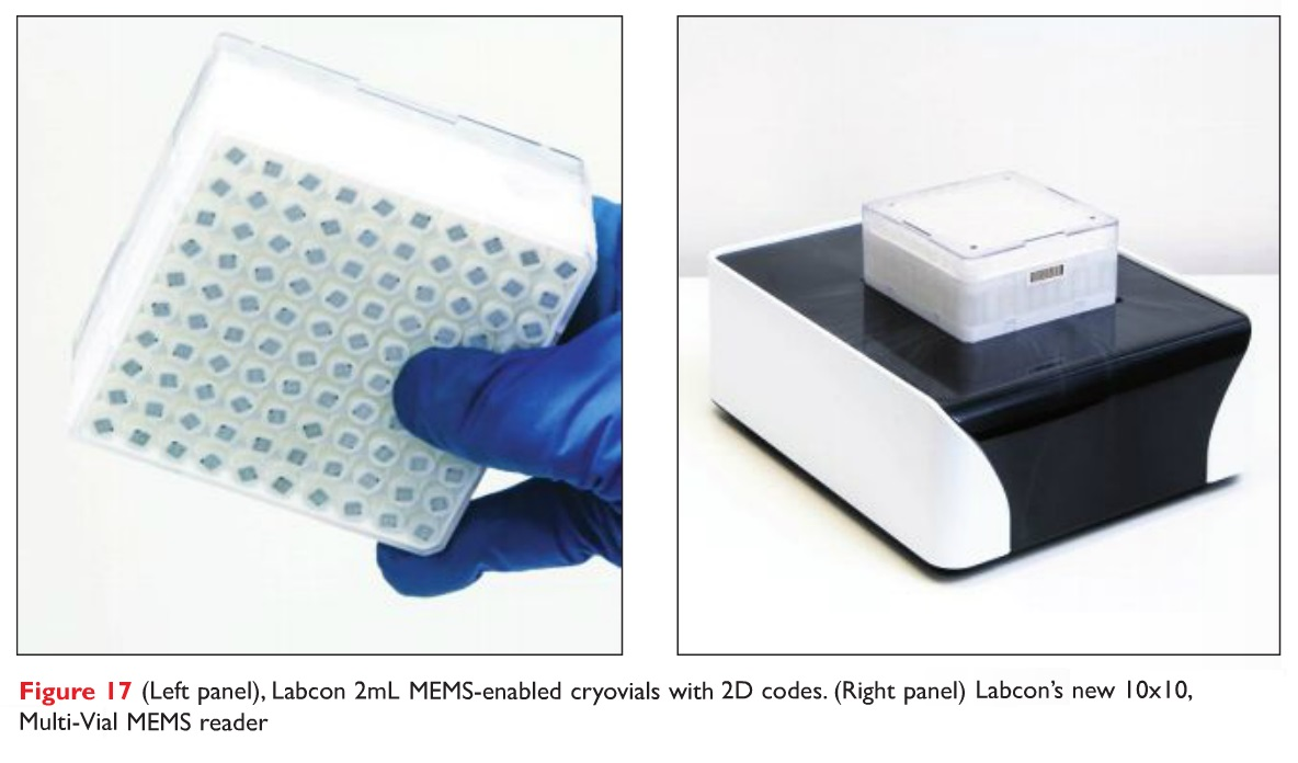 Figure 17 Labcon 2mL MEMS-enabled sryovials with 2D codes