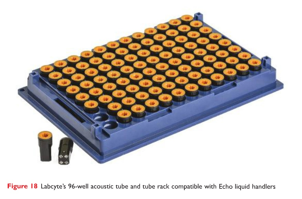 Figure 18 Labcyte's 96-well acoustic tube and tube rack compatible with Echo liquid handlers