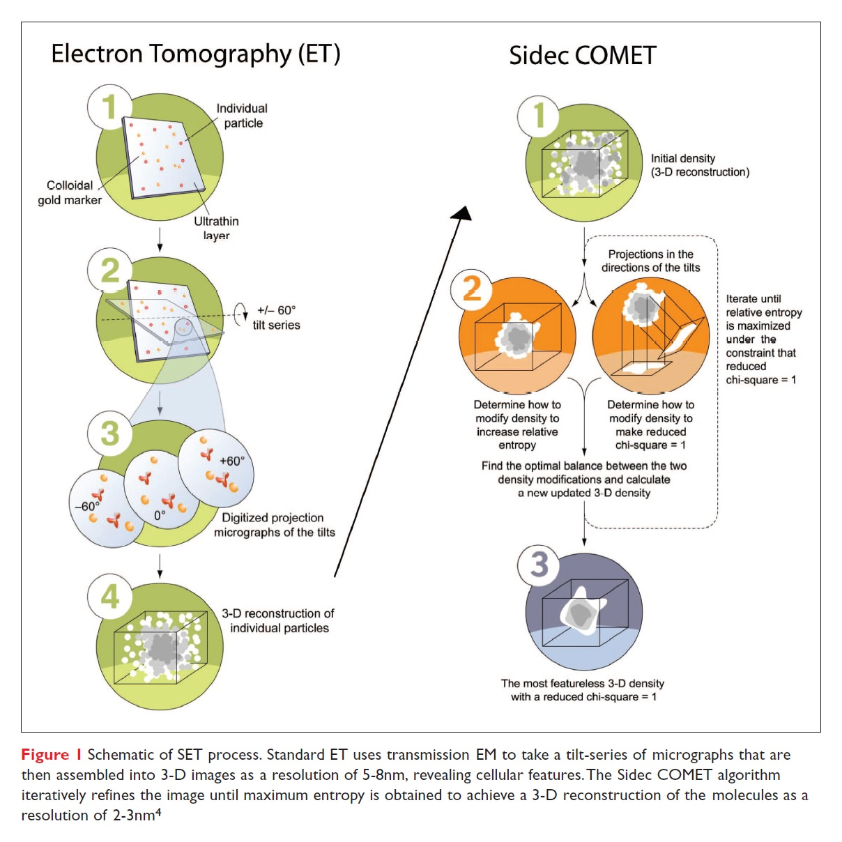 Figure 1 Schematic of SET process, Electron Tomography and Sidec COMET