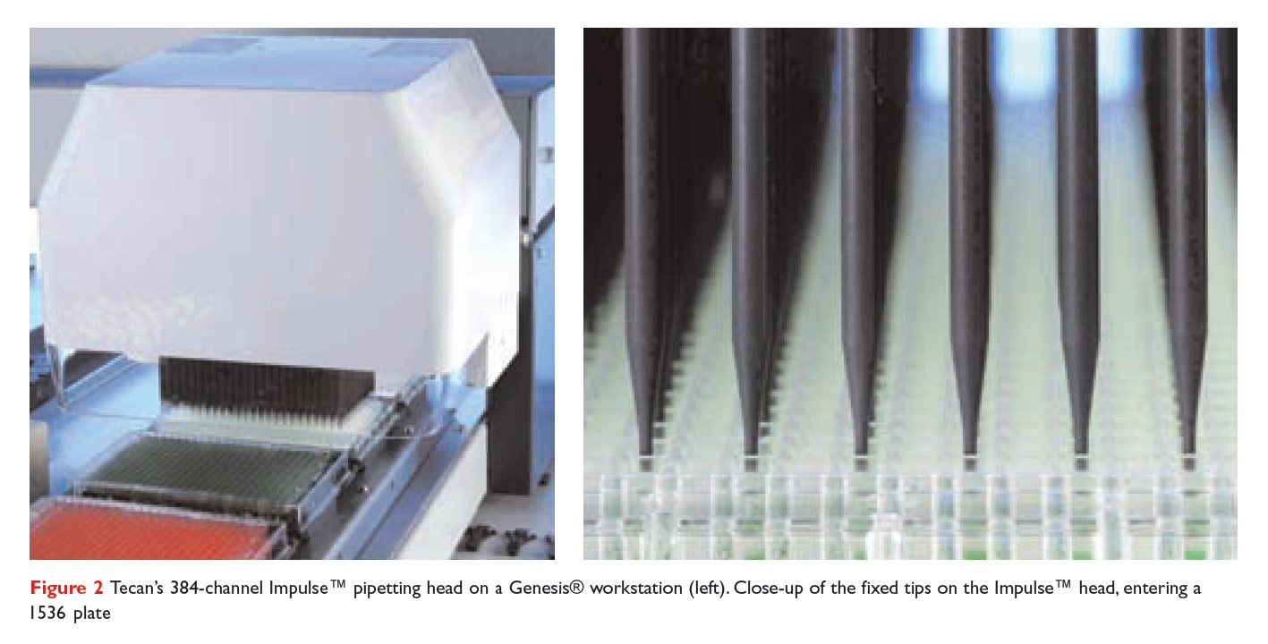 Figure 2 Tecan's 384-channel Impulse pipetting head on a Genesis workstation