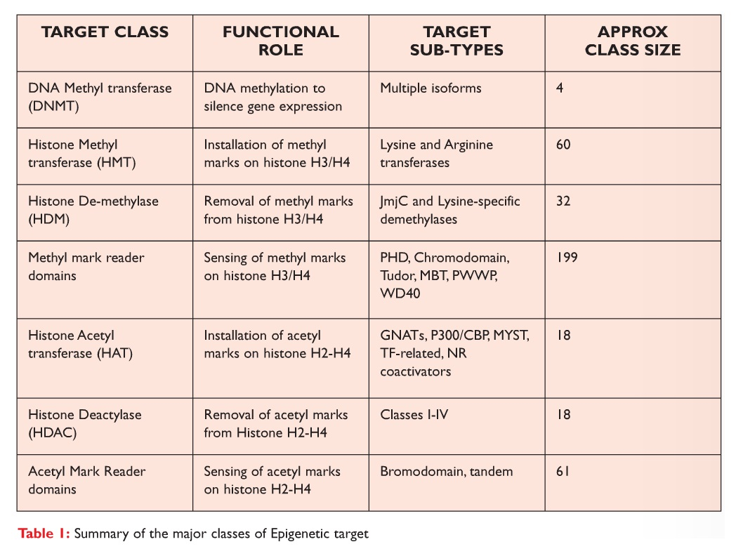 Table 1 Summary of the major classes of Epigenetic target