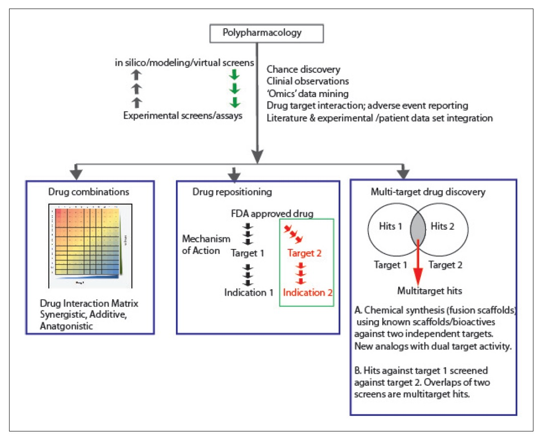 Figure 2 Polypharmacology, drug combinations, drug repositioning, and multi-target drug discovery