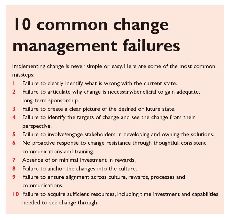 Figure 2 10 Common change management failures merger and acquisition deals life sciences