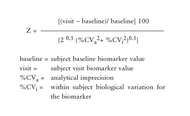Equation 1 showing The theoretical basis for identifying changes in serial patient results