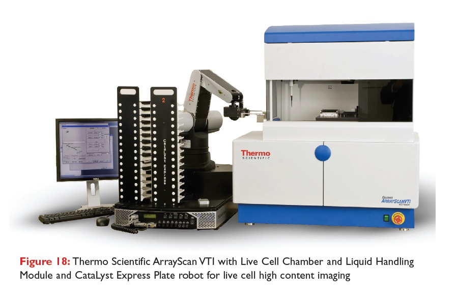 Figure 18 Thermo Scientific ArrayScan VT1 with Live Cell Chamber and Liquid Handling Module and CataLyst Express Plate robot