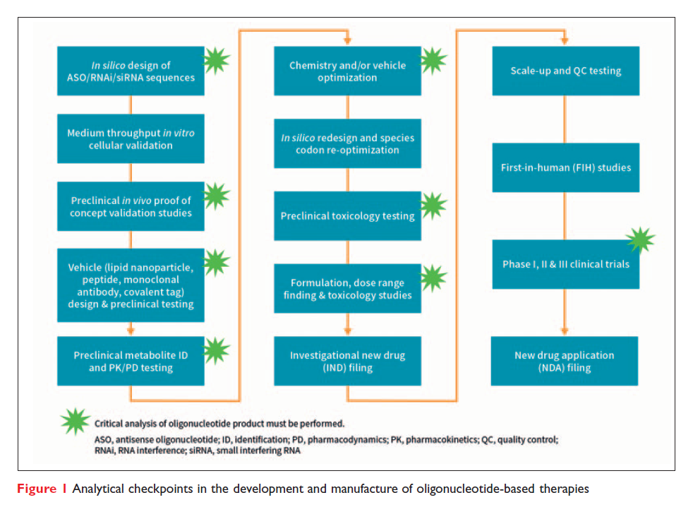 Figure 1 Analytical checkpoints in the development and manufacture of oligonucleotide-based therapies
