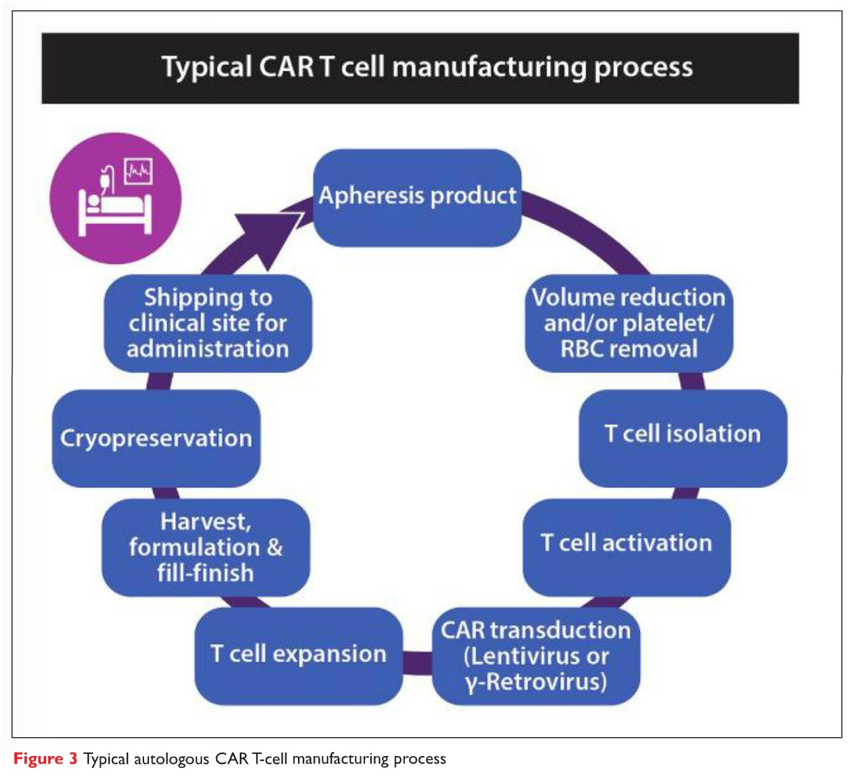 Figure 3 Typical autologous CAR T-cell manufacturing process